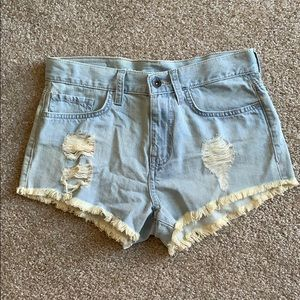 Vans High Waisted Distressed Light Wash Shorts
